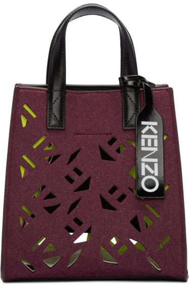 Kenzo - Burgundy Felt Perforated Flying Tote