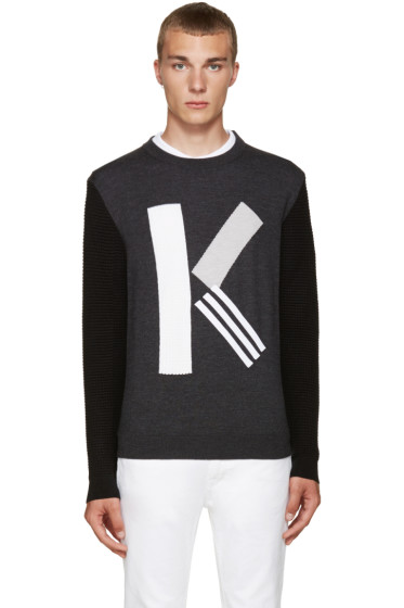 "Kenzo - Grey Textured Wool ""K"" Sweater"