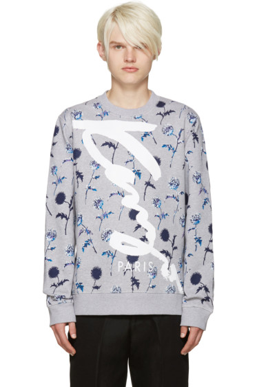 Kenzo - Grey Floral Print Logo Pullover