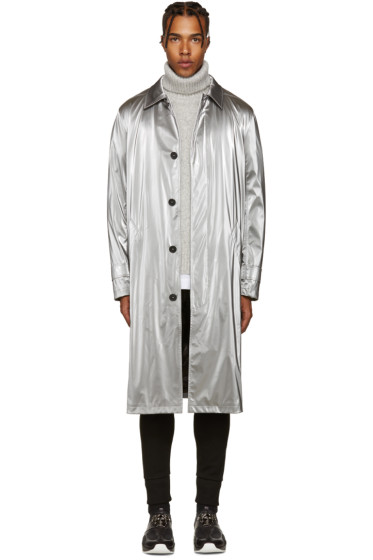 Versace - Silver Metallic Trench Coat