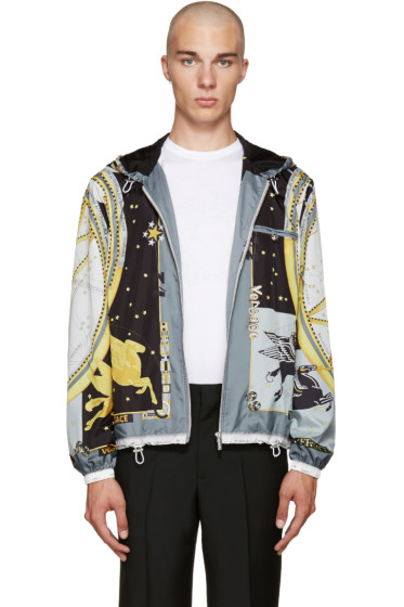 Versace - Black & Grey Space Print Zip Jacket