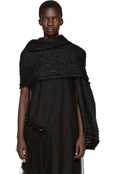 Simone Rocha - Black Wool Tweed Scarf