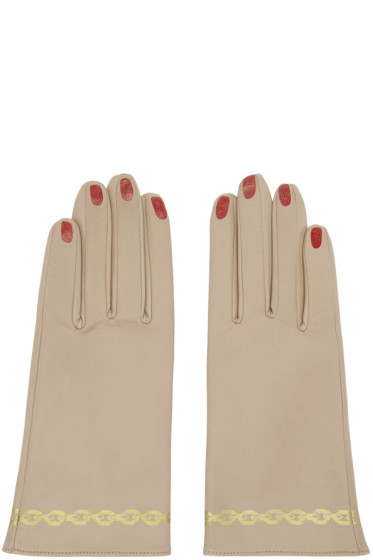 Undercover - Beige Leather Nail Polish Gloves