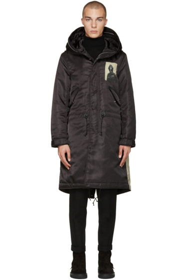 Undercover - Black Hooded Print Parka