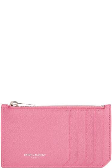 Saint Laurent - Pink Fragments Card Holder