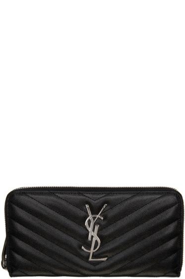 Saint Laurent - Black Quilted Monogram Wallet