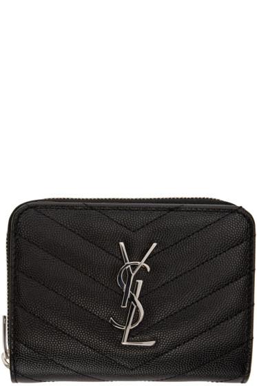 Saint Laurent - Black Quilted Monogram Compact Wallet