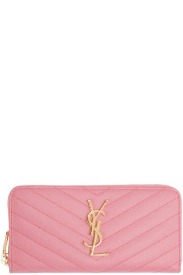 Saint Laurent - Pink Quilted Monogram Wallet