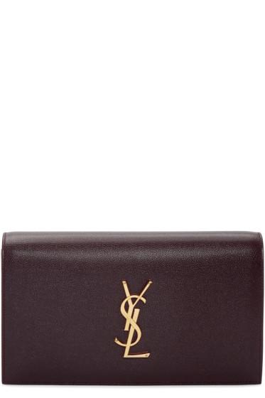 Saint Laurent - Burgundy Kate Monogram Clutch