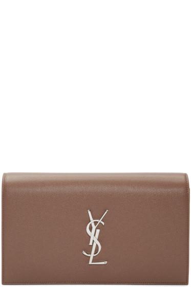 Saint Laurent - Brown Monogram Kate Clutch
