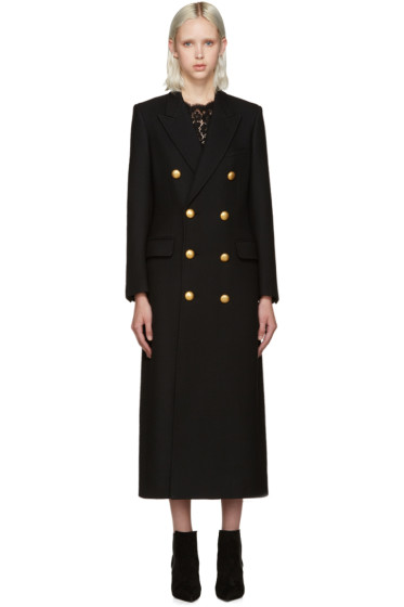Saint Laurent - Black Gold Button Coat