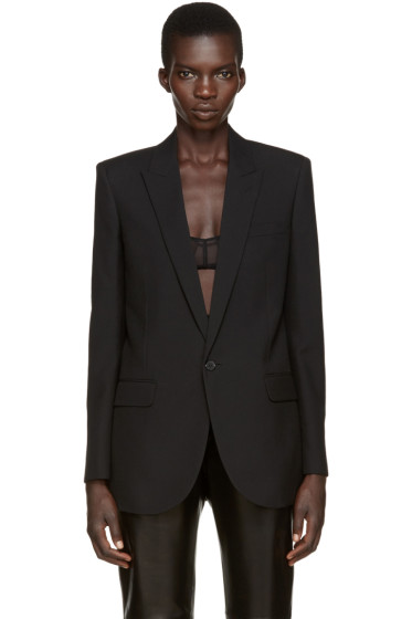 Saint Laurent - Black Wool 80s Blazer