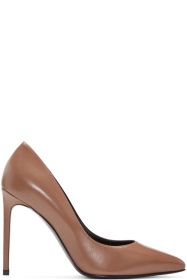 Saint Laurent - Brown Leather Paris Heels