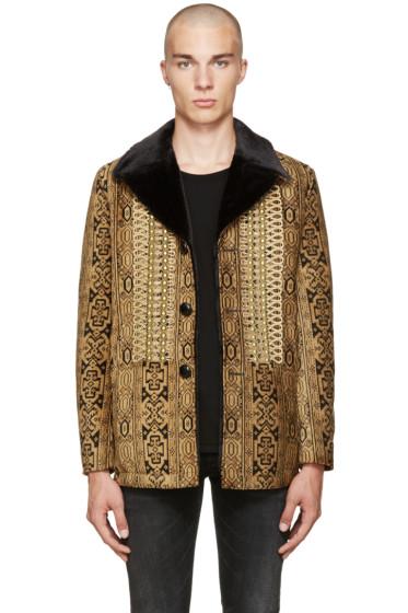 Saint Laurent - Tan Canadian Tapestry Coat