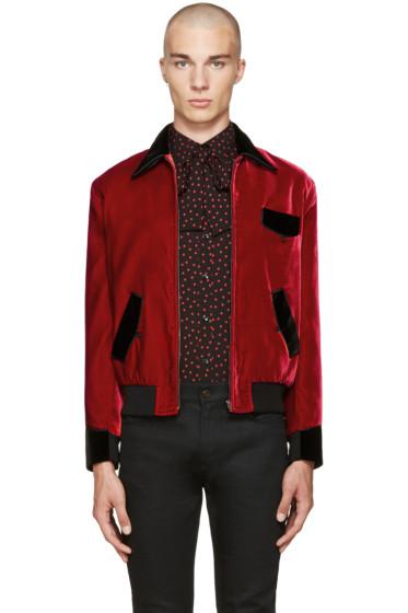 Saint Laurent - Red Velvet Military Teddy Jacket