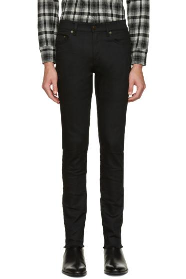 Saint Laurent - Black Original Mid Waisted Raw Edge Skinny Jeans