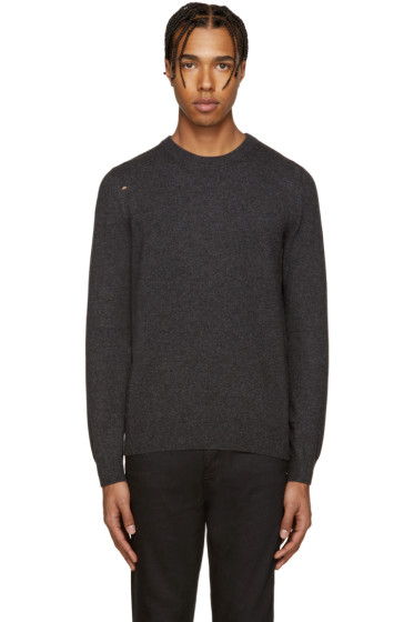 Saint Laurent - Grey Grunge Destroyed Sweater