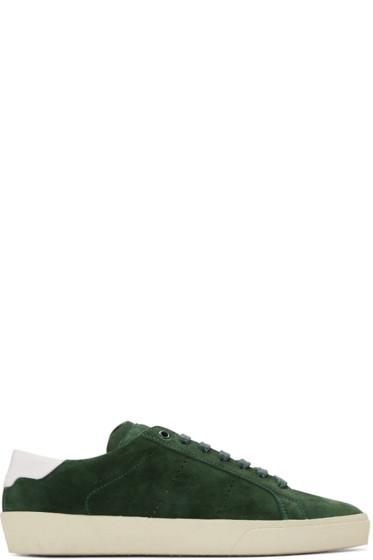 Saint Laurent - Green Suede Court Classic Sneakers