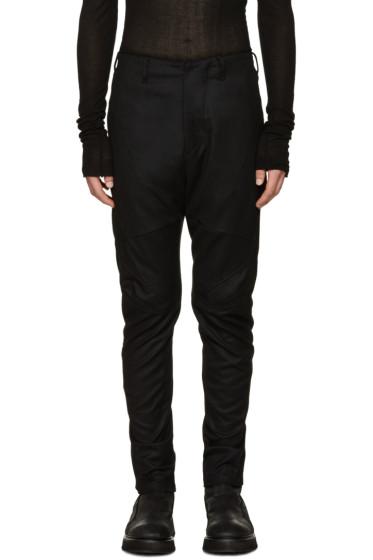 Julius - Black Wool Saxony Trousers