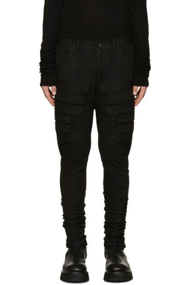 Julius - Black Embroidered Appliqué Trousers