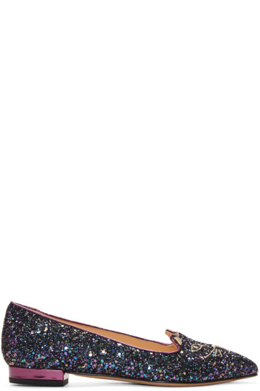 Charlotte Olympia - Blue Glitter Metallic Kitty Flats