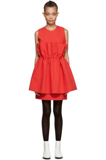 MSGM - Red Waist Ruffle Dress