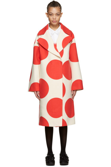 MSGM - White & Red Polka Dot Coat