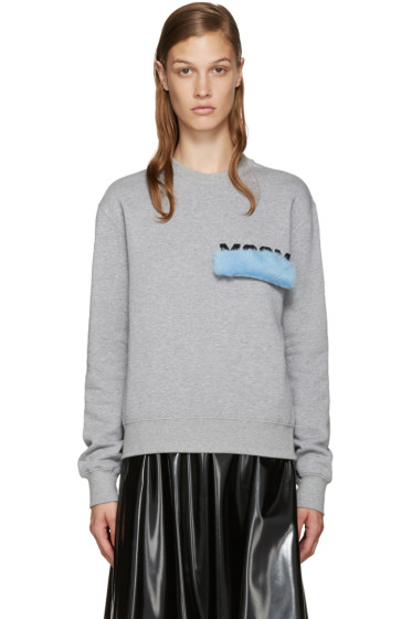 MSGM - Grey Mink Patch Sweatshirt