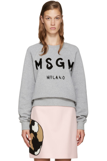 MSGM - Grey Painted Logo Sweatshirt