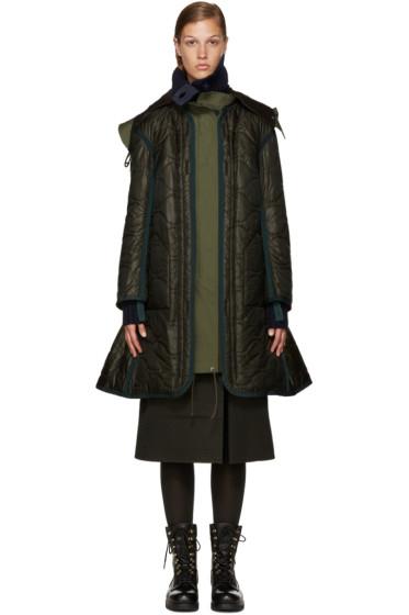 Sacai - Green Long Down Coat