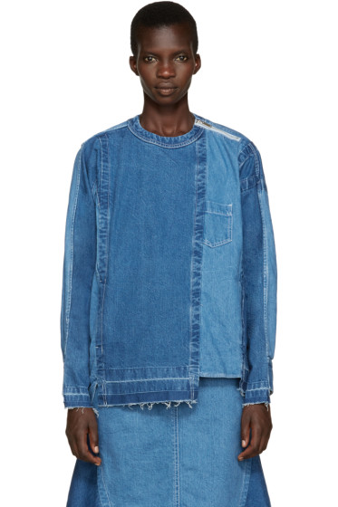 Sacai - Blue Reconstructed Denim Shirt