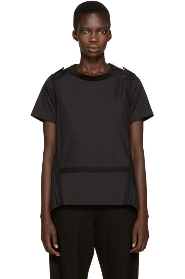 Sacai - Black Velvet Collar Pleated Top