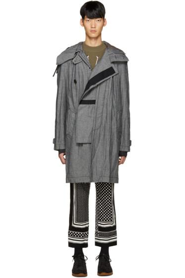 Sacai - Grey Canvas Hooded Coat