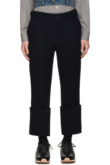Sacai - Navy Raw Edge Trousers