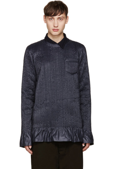 Sacai - Navy Ribbed Crewneck