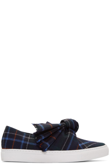 Cédric Charlier - Navy Plaid Bow Slip-On Sneakers