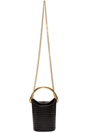 Stella McCartney - Black Croc-Embossed Bucket Bag