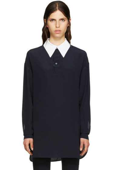Stella McCartney - Navy Silk Collar Shirt
