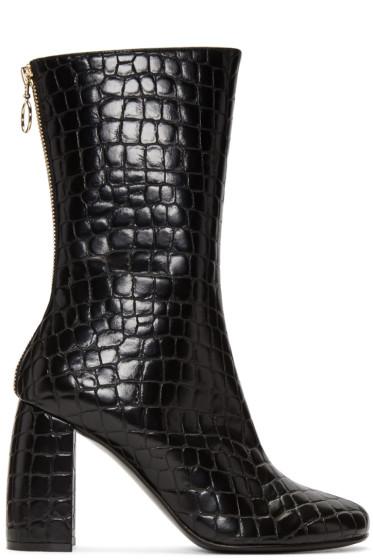 Stella McCartney - Black Croc-Embossed Boots