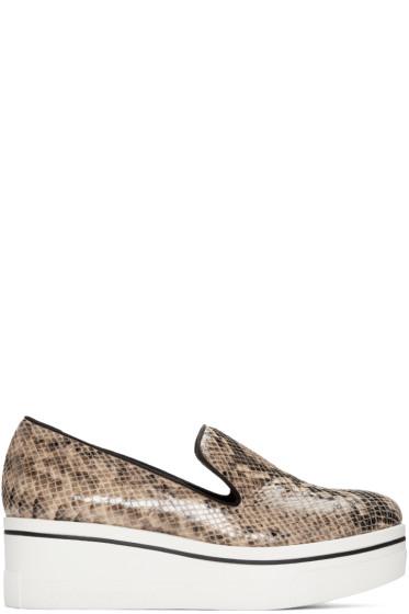 Stella McCartney - Beige Snake-Embossed Binx Loafers