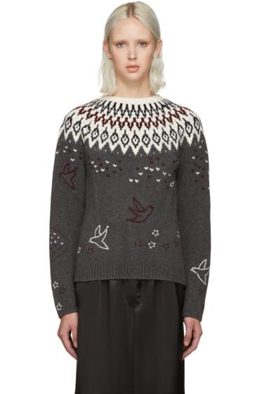 Nina Ricci - Grey Embroidered Icelandic Sweater
