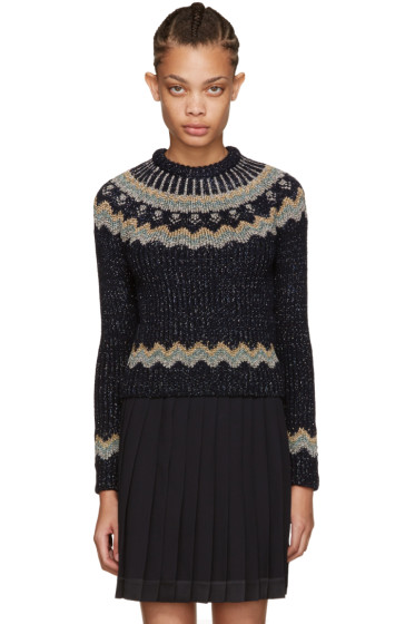 Valentino - Navy Metallic Alpine Sweater