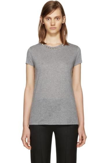 Valentino - Grey Untitled Rockstud T-Shirt
