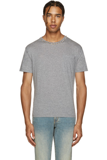 Valentino - Grey Rockstud Untitled T-Shirt