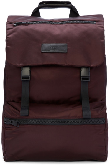 AMI Alexandre Mattiussi - Burgundy Nylon Backpack