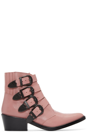 Toga Pulla - Pink Western Buckle Boots