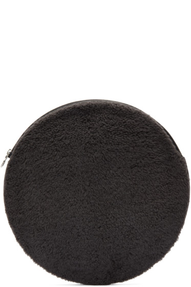 Kara - Grey Shearling Circle Pouch