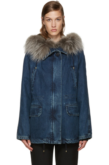 Army by Yves Salomon - Indigo Fur-Lined Denim Short Parka