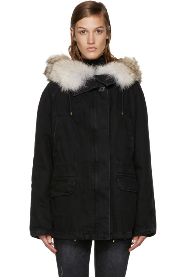 Army by Yves Salomon - Black Fur-Lined Denim Coat