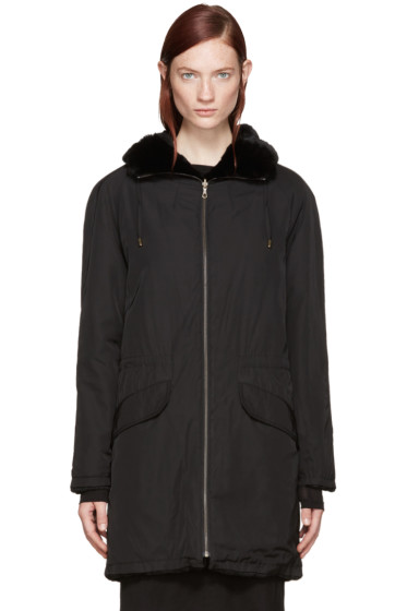 Army by Yves Salomon - Reversible Black Nylon & Fur Parka